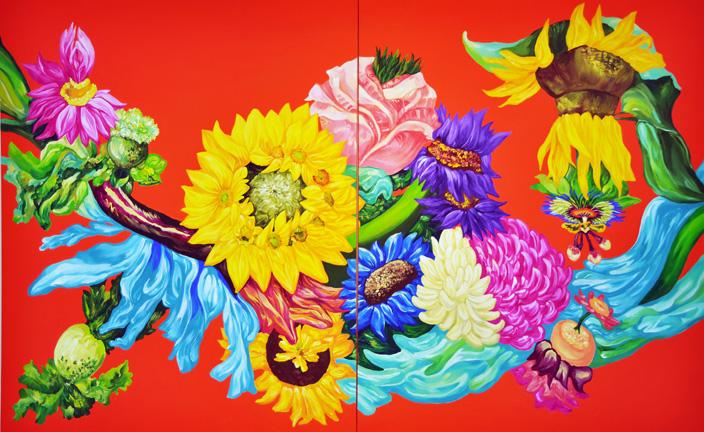 황지현 Dancing victims-춤추는 희생자들 261x162cm Gouache,Acrylic on Canvas 2013