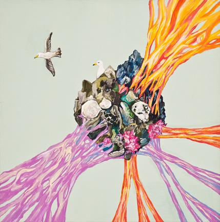 황지현 tug-of-war_줄다리기  Gouache,Acrylic on Canvas 30x30cm 2013