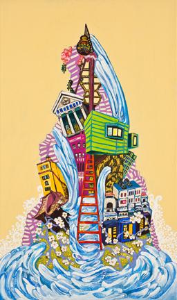 황지현 Pheonix-water   Gouache,Acrylic on Canvas 46x25cm 2013.