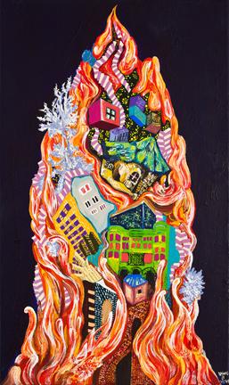 황지현 Pheonix-fire  Gouache,Acrylic on Canvas  46x25cm 2013