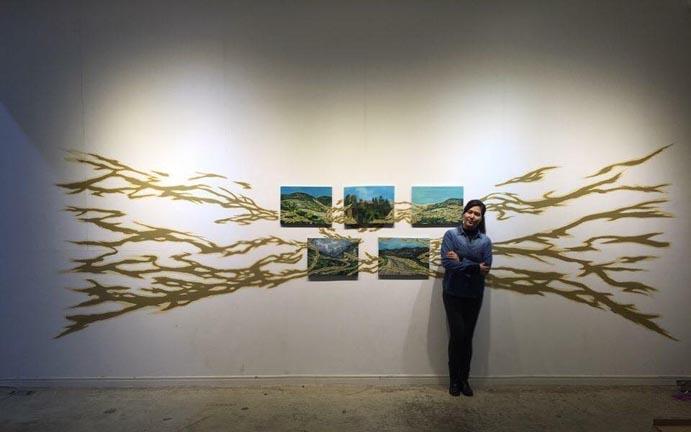 끝나지 않은 길 iii, 가변크기, Gouache, Acrylic on Canvas,  Wall painting 2018