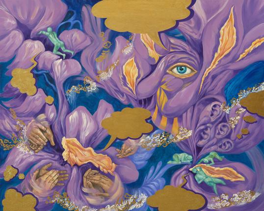 노래하는 밤 Singing Night (03) Gouache Acrylic on Canvas 130X160cm 2019